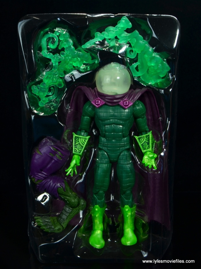 marvel legends mysterio figure review - accessories in tray