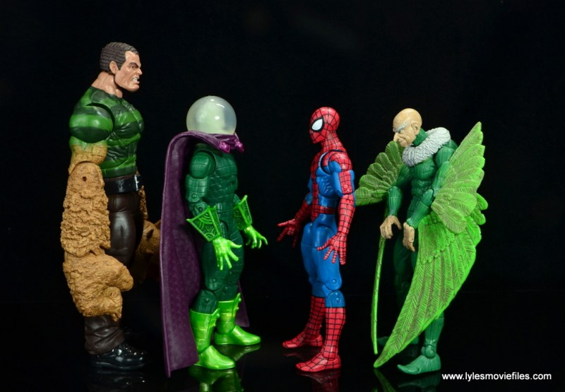 marvel legends mysterio figure review - scale with sandman, spider-man and vulture