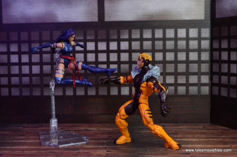 marvel legends psylocke figure review -jump kick attack