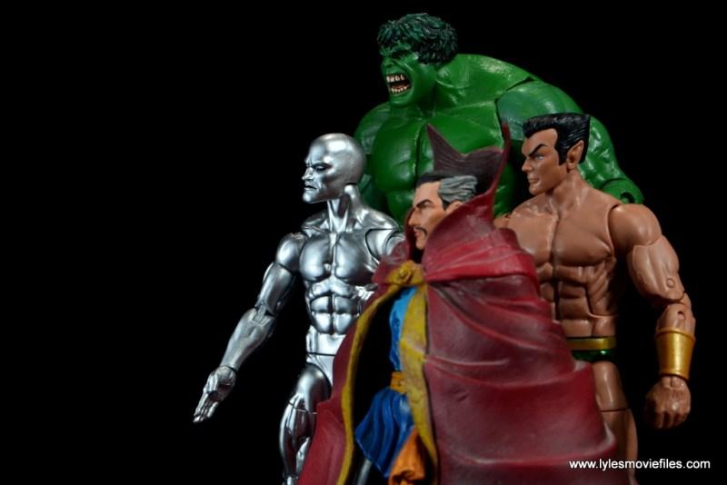 marvel legends silver surfer figure review -with hulk, doctor strange and namor