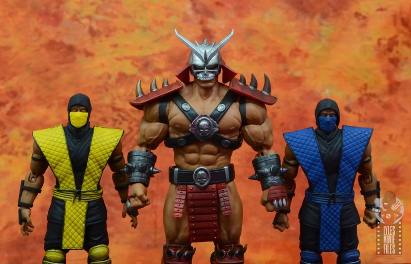 storm collectibles mortal kombat shao khan figure review - scale with scorpion and sub-zero