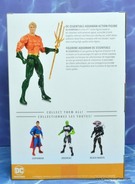 dc essentials aquaman action figure review - package rear