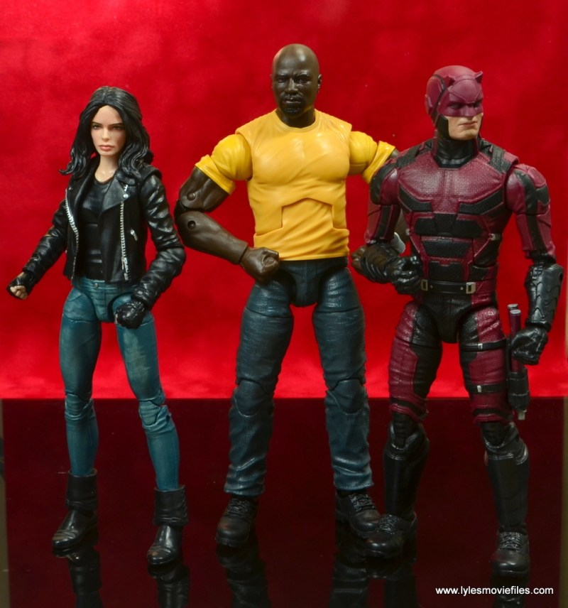 marvel legends luke cage and claire figure review -cage hanging with netflix jessica jones and daredevil