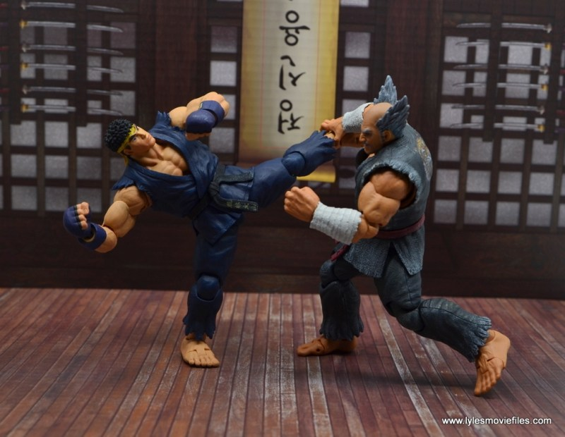 Storm Collectibles Heihachi Mishima figure review -catches ryu's leg