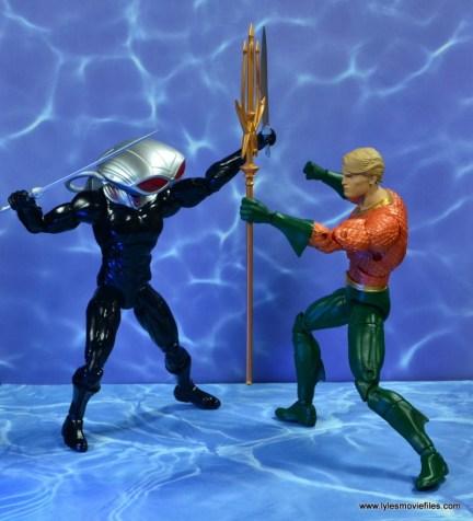 dc essentials black manta figure review -trident vs swords