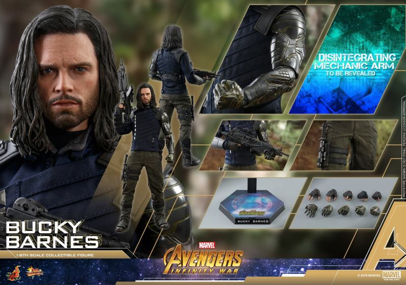 hot toys avengers infinity war bucky barnes figure -collage