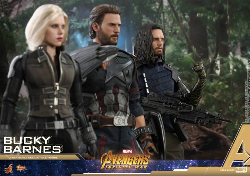 hot toys avengers infinity war bucky barnes figure -with black widow and captain america