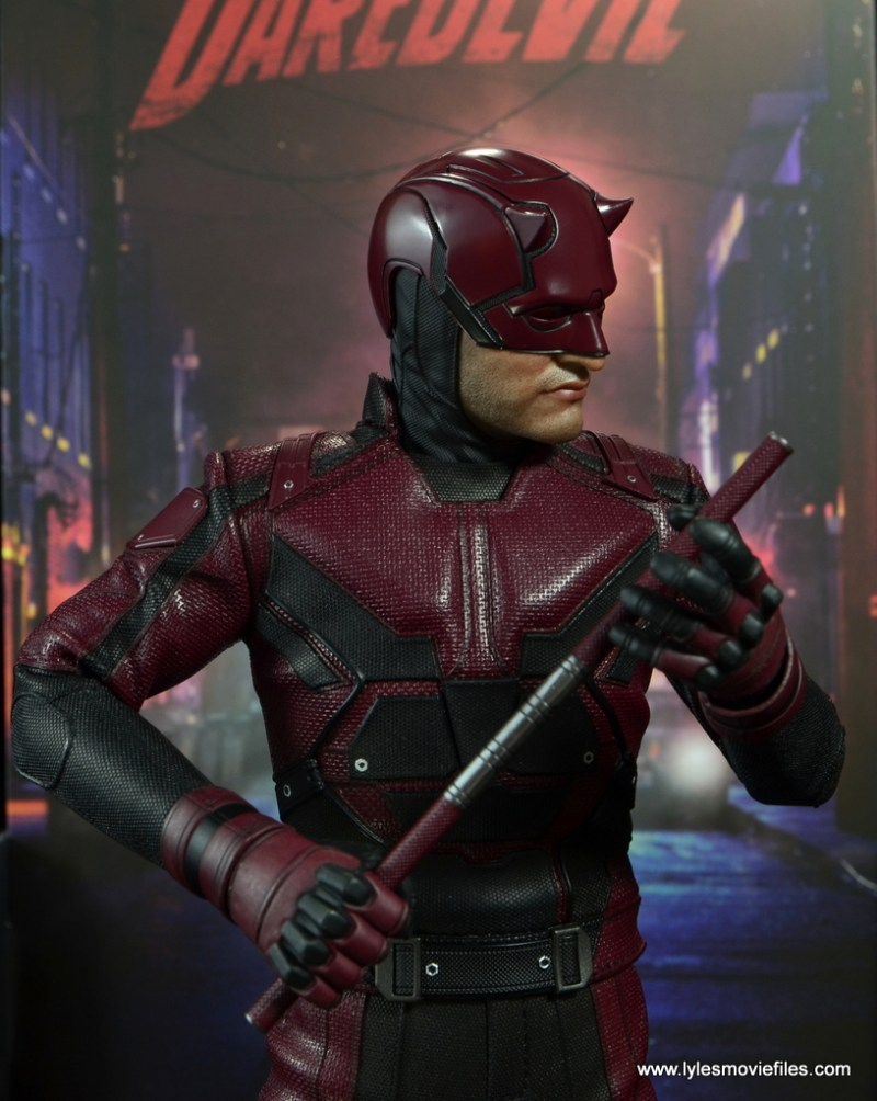 hot toys daredevil figure review - holding nunchuk