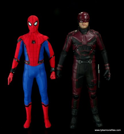 hot toys daredevil figure review - next to hot toys spider-man homecoming