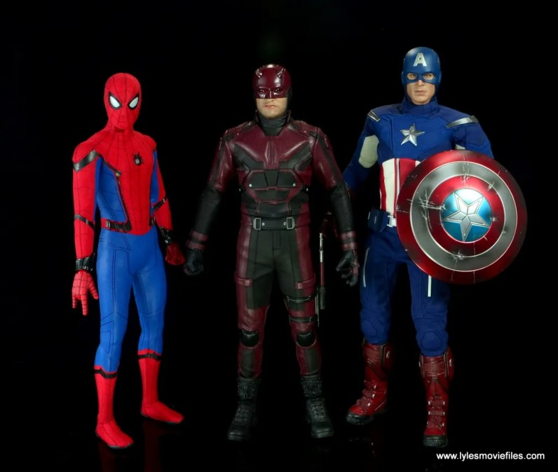 hot toys daredevil figure review - side by side with spider-man and captain america