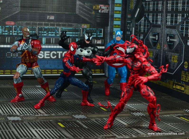 marvel legends deathlok figure review - maximum carnage with venom, spider-man, captain america and carnage