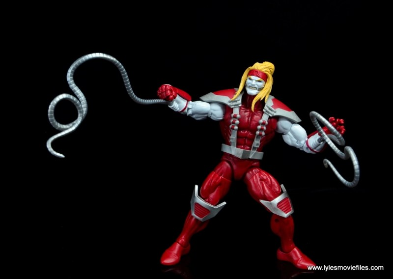 marvel legends omega red figure review - tendrils up and out
