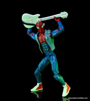 marvel legends spider-punk figure review - guitar behind back
