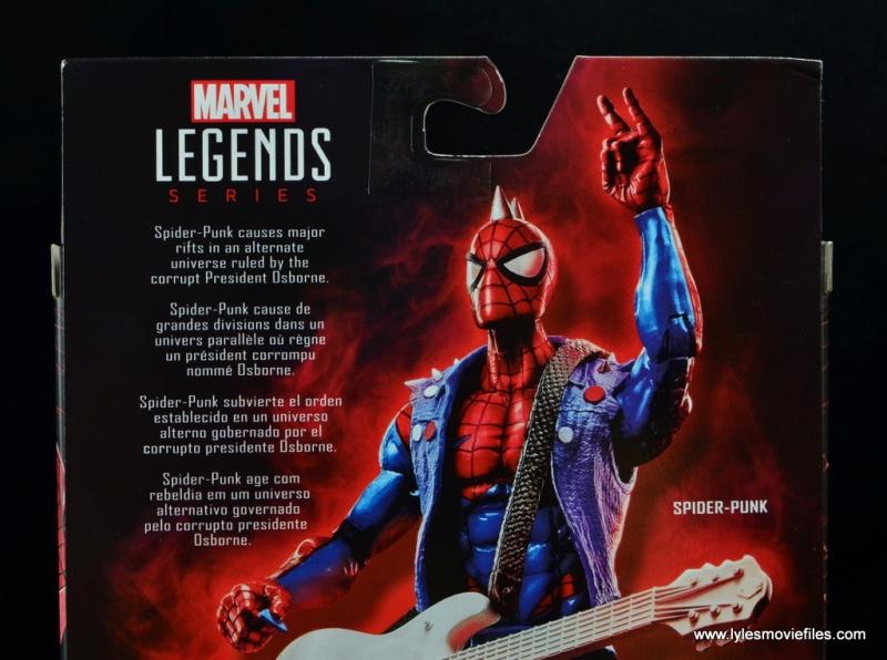 marvel legends spider-punk figure review - package bio