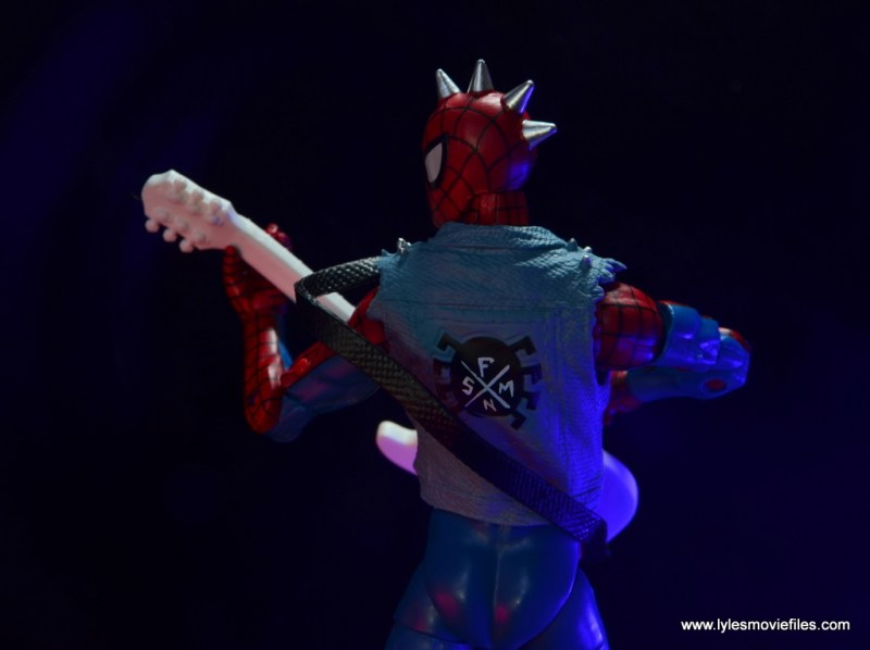 marvel legends spider-punk figure review - playing guitar rear