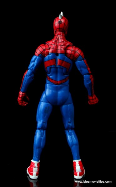 marvel legends spider-punk figure review - rear with vest off