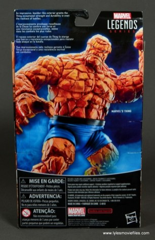 marvel legends the thing figure review - package rear