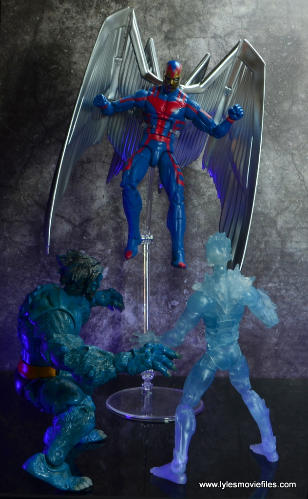 marvel legends archangel figure review - flying over beast and iceman