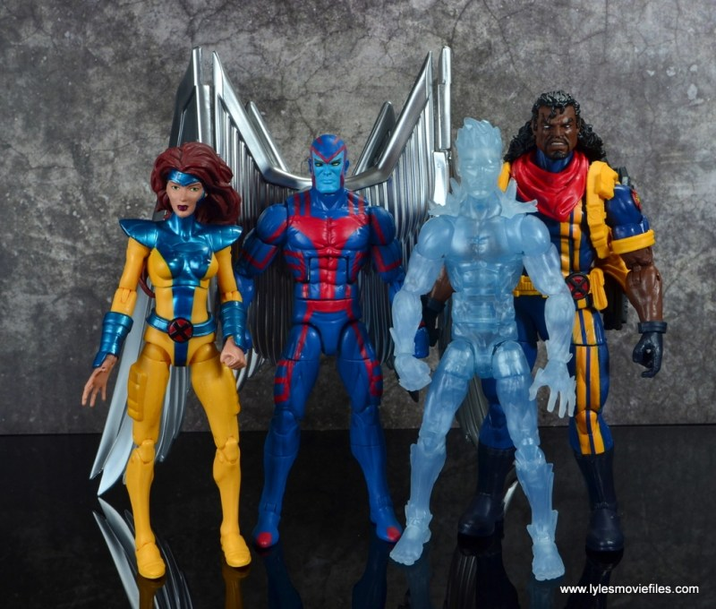 marvel legends archangel figure review - with jean grey, iceman and bishop