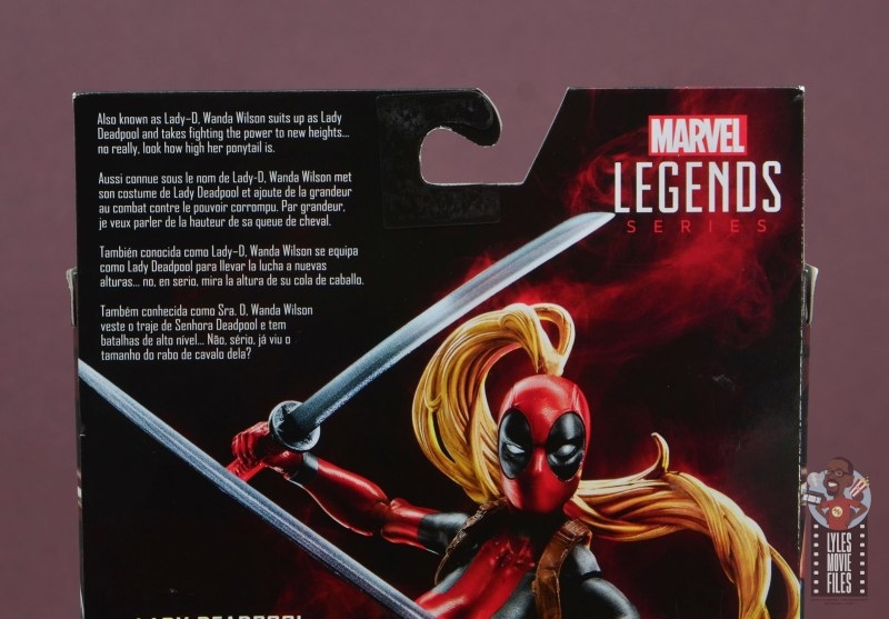 marvel legends lady deadpool figure review - package bio
