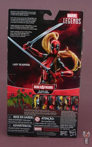marvel legends lady deadpool figure review - package rear