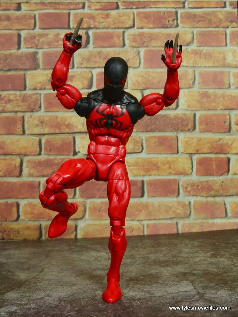marvel legends scarlet spider figure review - leaping