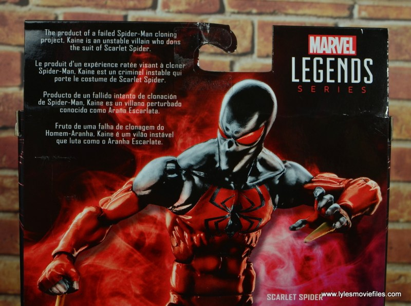 marvel legends scarlet spider figure review - package bio