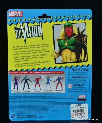 marvel legends vision figure review -package rear