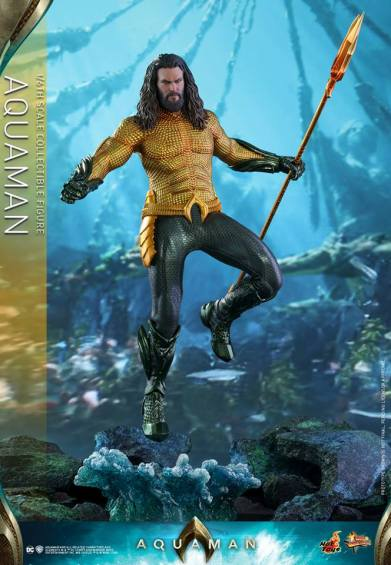 hot toys aquaman figure - hovering over base
