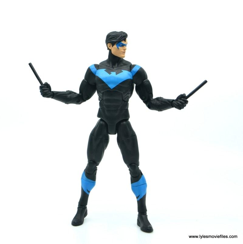 dc essentials nightwing figure review - eskrima sticks up