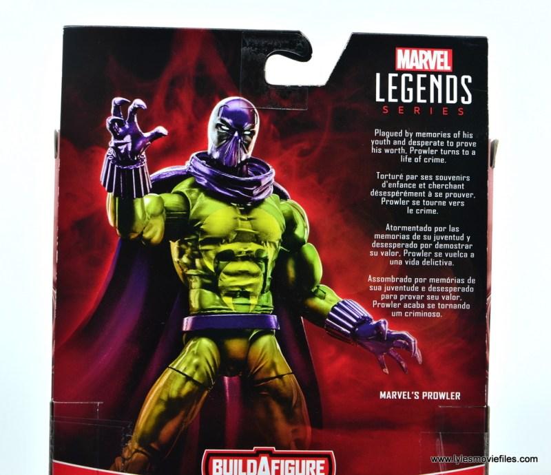 Marvel Legends Prowler figure review - package bio