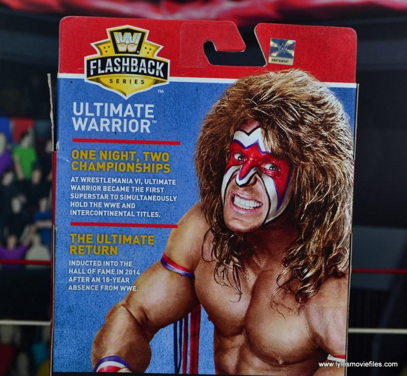WWE Flashback Ultimate Warrior figure review - package bio