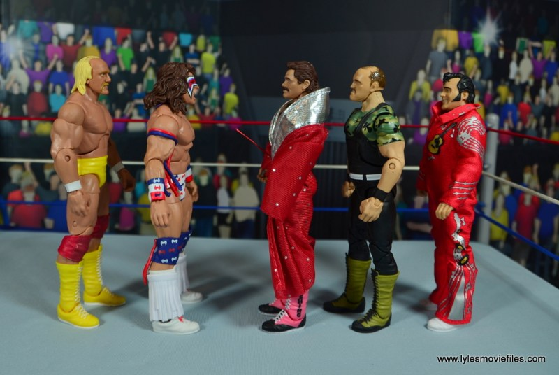 WWE Flashback Ultimate Warrior figure review -scale with hulk hogan, rick rude, slaughter and honky tonk man