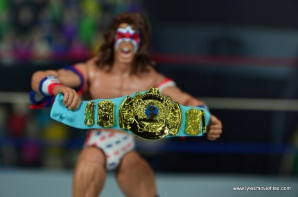 WWE Flashback Ultimate Warrior figure review -wwf title closeup
