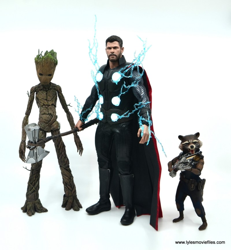 hot toys avengers infinity war thor figure review - arriving with groot and rocket