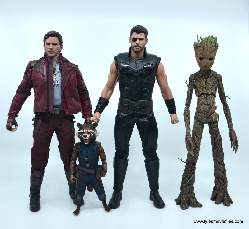 hot toys avengers infinity war thor figure review - scale with star-lord, rocket and groot