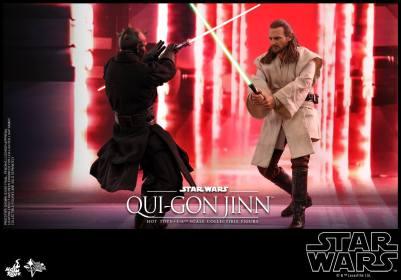 hot toys star wars the phantom menace qui-gon jinn figure - second round vs darth maul
