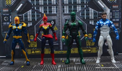 marvel legends genis-vell figure review - scale with nova, captain marvel and cosmic spider-man