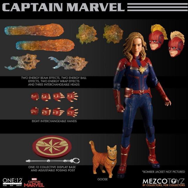 mezco one 12 captain marvel figure -collage