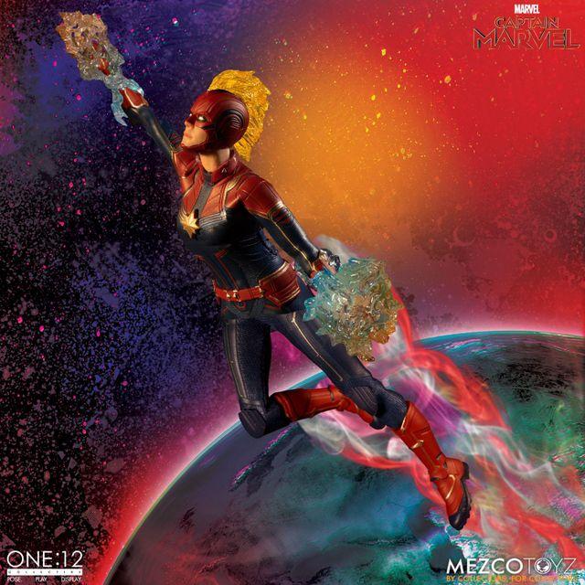 mezco one 12 captain marvel figure -in space