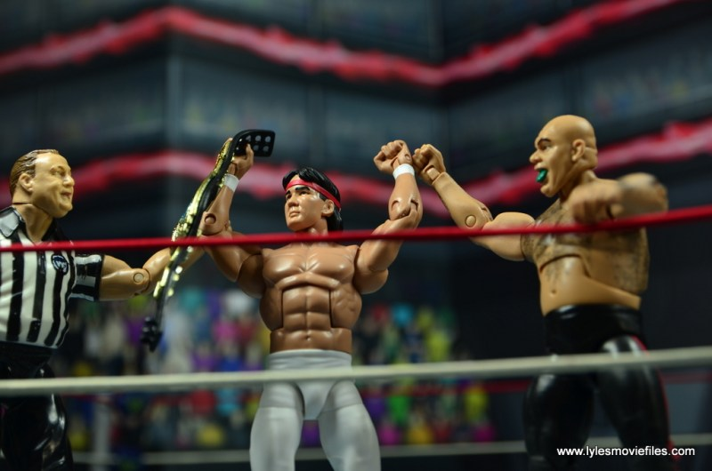 wwe elite flashback ricky steamboat figure review - celebrating with george the animal steele