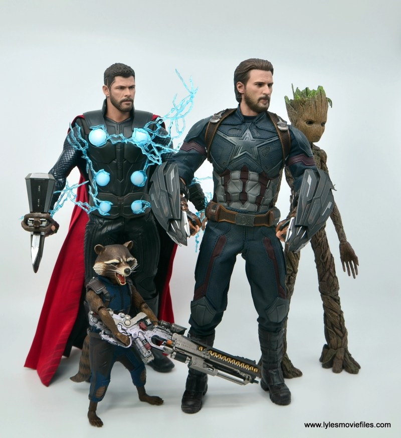 Hot Toys Avengers Infinity War Captain America figure review - ready for battle with thor, rocket and groot
