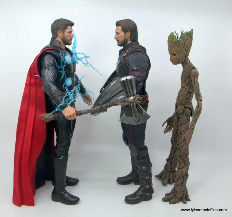 Hot Toys Avengers Infinity War Captain America figure review - scale with Thor and Groot