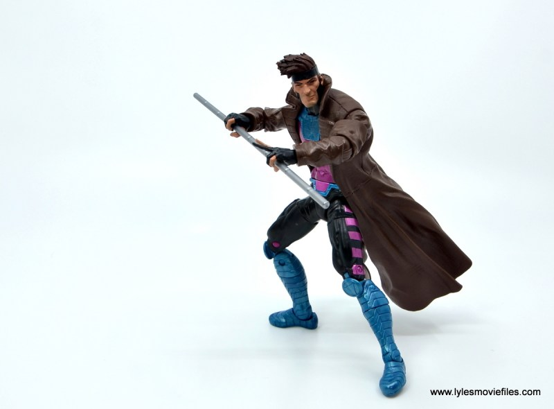 Marvel Legends Gambit figure review -holding the bo staff
