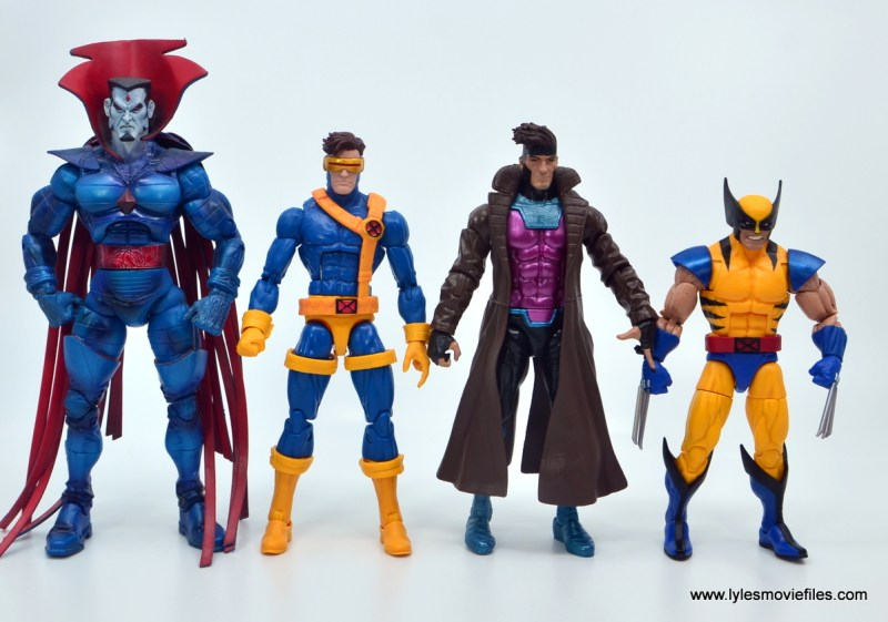 Marvel Legends Gambit figure review -scale with mr. sinister, cyclops and wolverine