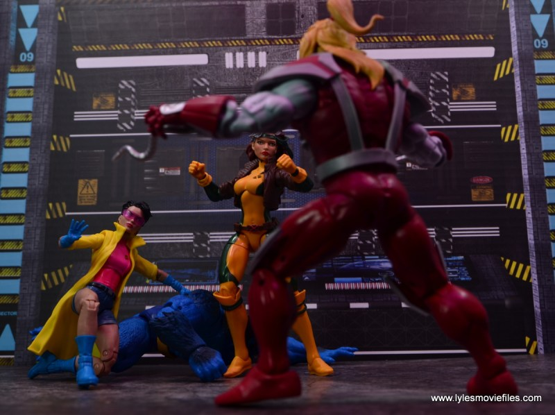 Marvel Legends Jubilee figure review - with rogue vs omega red