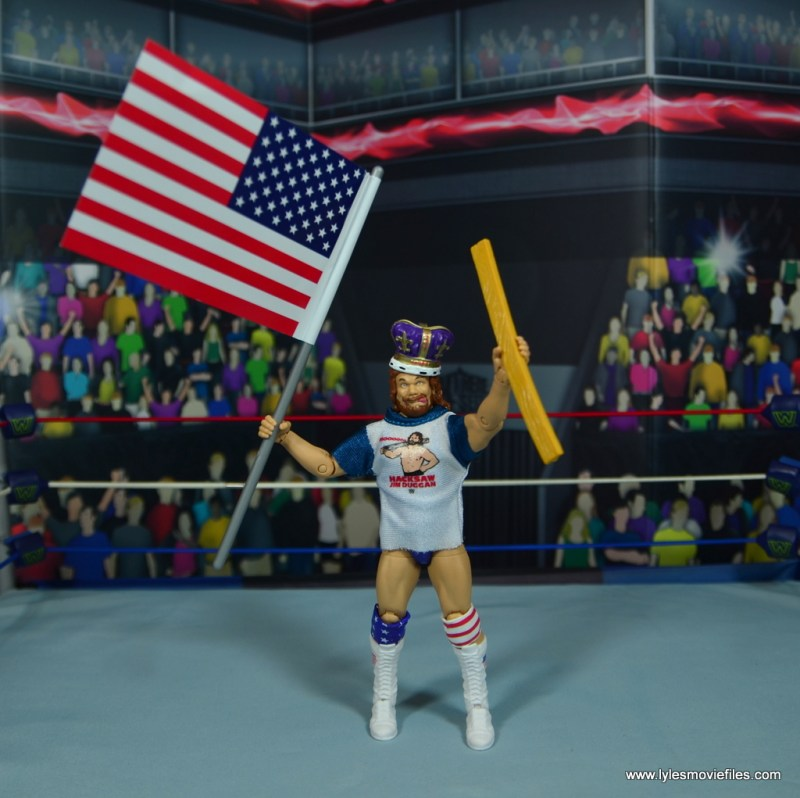 WWE Retrofest Hacksaw Jim Duggan figure review - with all his accessories