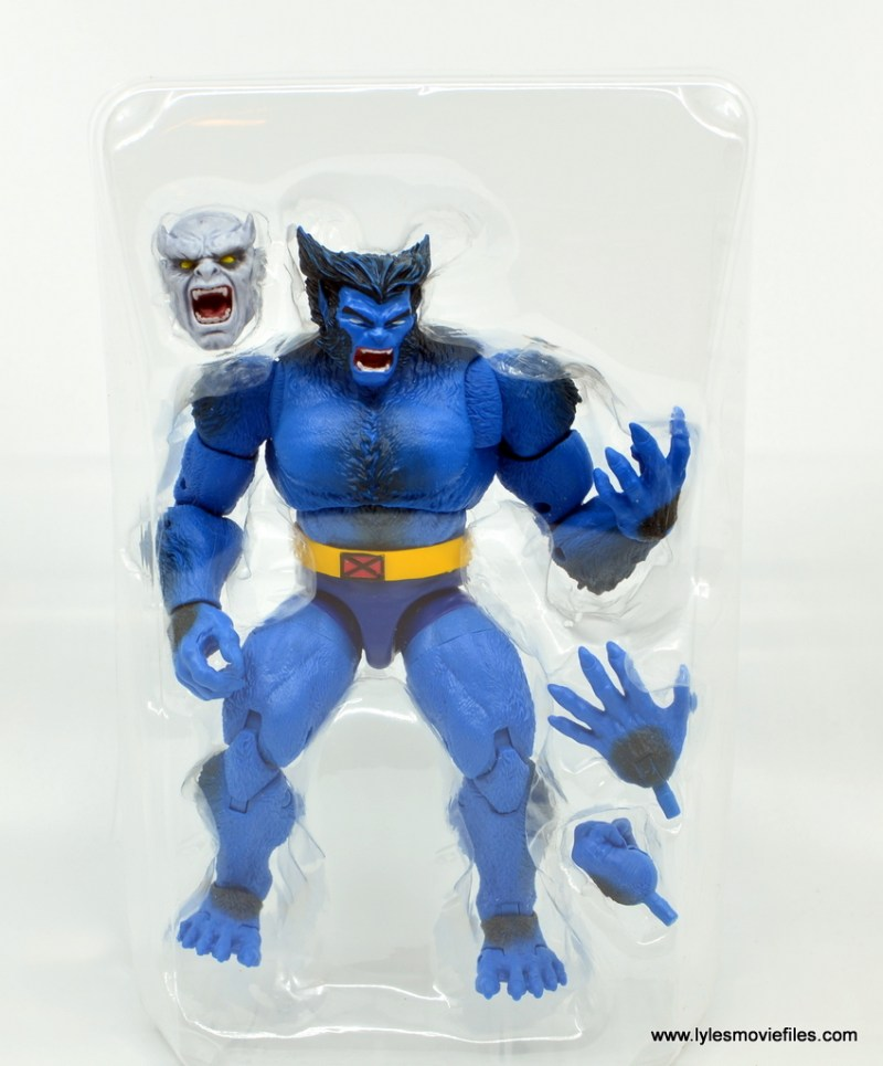 marvel legends beast figure review -in tray accessories