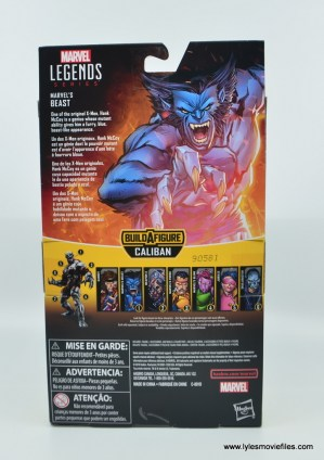 marvel legends beast figure review -package rear
