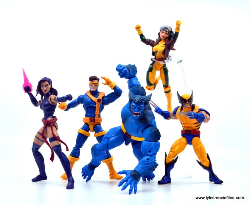 marvel legends beast figure review -with psylocke, cyclops, rogue and wolverine